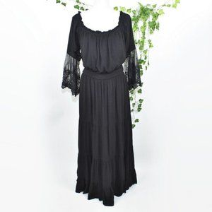 City Chic Black lace midi boho dress